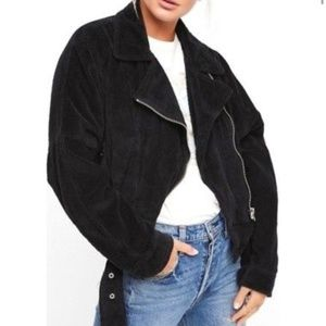 Free People Black Corduroy Moto Jacket- Size Large